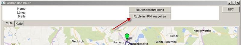 Route in Navi ausgeben