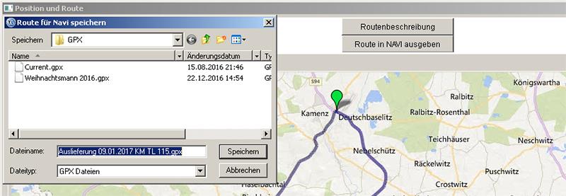Route in Navi ausgeben 1